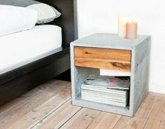 Bedside Table - Beistelltisch aus Beton // little concrete desk by Plaha &… Concrete Interiors, Concrete Furniture, Furniture Plans, Diy Furniture, Furniture Design, Concrete Crafts, Concrete Wood, Concrete Projects, Concrete Design