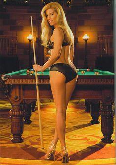 Nude Mates Play In Billiard