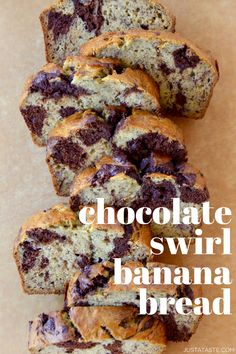 Grab those overripe bananas and your choice of chocolate and get baking with this recipe for the best Chocolate Swirl Banana Bread! It's moist, flavorful, and great for breakfast or snacking. justataste.com #recipes #bananabreadrecipe #bananabread #snacks #breakfast #chocolatebananabread #justatasterecipes