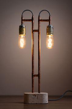 Lámpara de concreto y cobre estilo industrial