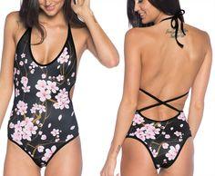 Cherry Blossom Black Miami Suit (AU $100AUD) by Black Milk Clothing