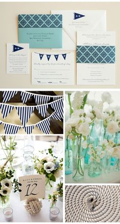 navy and white bunting and invites from #pearls_for_paper #nautical_wedding