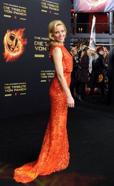 Elizabeth Banks wore Elie Saab to the Berlin premiere of The Hunger Games.