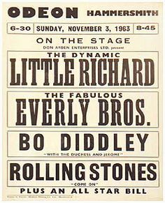 3.11.1963; little richard - everly bros. - bo diddley - rolling stones; gbr, london, hammersmith odeon; (db)