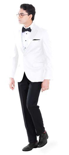 e3c5b16d5 Our Premium white tuxedo is a definite show stopper. Laced with elegant  black satin