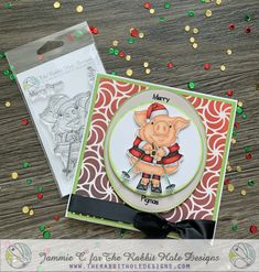 This adorable porker is from The Rabbit Hole Designs and was colored in Copic markers by Jammie Clark of Sweet Sentiment. The Candy Swirl stencil is also from The Rabbit Hole Designs. Rabbit Hole, Copic Markers, Stencils, Merry, Stamp, Sweet, Cards, Color, Holidays