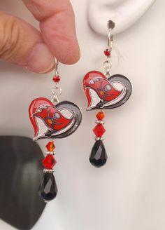 Tampa Bay Buccaneers Earrings, TB Bucs Bling, Black, Red and Orange Crystal…