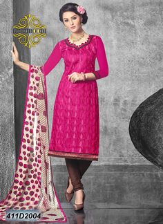 Unstitched salwar suits of glace cotton fabric, embroidery & border work.
