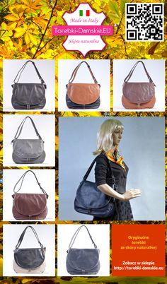 Pełna kolekcja: torebki skórzane włoskie, produkty oryginalne wykonane w 100% ze skóry licowej. Aktualnie w ofercie 7 wersji kolorystycznych tego modelu, również dwukolorowe. Aktualnie torebki można wybrać spośród następujących kolorów: czarny, czarno - brązowy, brąz jasny i ciemny, szary, ciemny brąz, biało - czarny, granatowy. #torebki #handbags #fashion