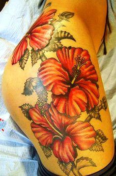thigh flower tattoos, thigh tattoos and hibiscus tattoo. Vine Tattoos, Sexy Tattoos, Flower Tattoos, Body Art Tattoos, Tatoos, Thigh Tattoos, Large Tattoos, Girly Tattoos, Tattoo Art