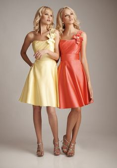 Short Satin Bridesmaid Dresses | ... > Satin Beaded Floral One-Shoulder A-Line Short Bridesmaid Dress