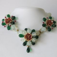 A French Pate de Verre Glass Flower Necklace from the 1940's - 50's.