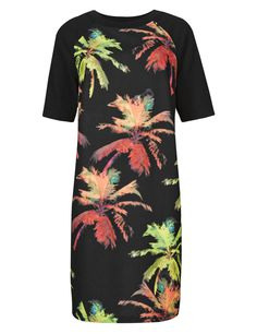 Marks and Spencer Black Digital Neon Palm Tree Print Tunic Dress NEW 8 to 18
