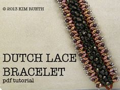 20% off Sale Reg. 8.00  Beading Tutorial for Dutch Lace Bracelet with Super Duos, Firepolish, 11/0 seed beads, and 8/0 seed beads