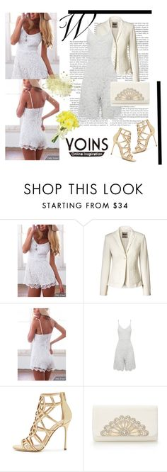 """White Lace Cami Rompers-YOINS Contest"" by woman-1979 ❤ liked on Polyvore featuring Sergio Rossi, Pavilion Broadway and yoins"