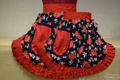 Mother and Daughter Matching Set – Retro Vintage 50s Style Half Aprons – Red & White Teapots (Polka Dot) on Navy