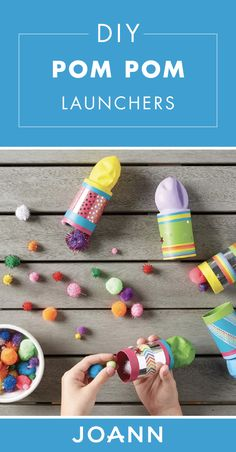 Who's ready for a fun summer activity? Check out these DIY Pom Pom Launchers to learn how you can use supplies from JOANN to create a fun and playful craft for birthday parties, summer play dates, and more. Fun Summer Activities, Craft Activities For Kids, Projects For Kids, Math Activities, Craft Ideas, Craft Stick Crafts, Craft Gifts, Crafts To Make, Easter Crafts For Kids