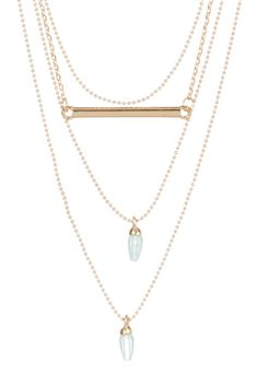 Katie Maloney Gold Tone Layered Bar Necklace with Stones