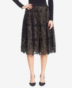 Catherine Malandrino Silk Pleated Lace Skirt | macys.com
