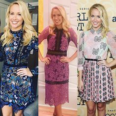 Ok, so I know there's 3 of me and that's kind of weird, but there's also 3 dresses that I love! Must thank @highheelprncess styling @mrselfportrait @shopbop #alexisdress @giambattistapr @anthonycampbellhair @gitabass @quinnmurphy1 #goodgirlsrevolt #press TOMORROW I'm on the @todayshow with Kathy Lee and Hoda!  10am