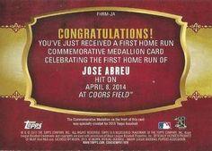 2015 Topps - First Home Run Medallions #FHRM-JA Jose Abreu Back