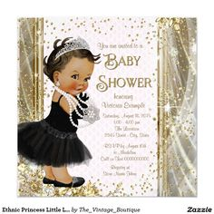 Ethnic Princess Little Lady Pink Gold Baby Shower Invitation
