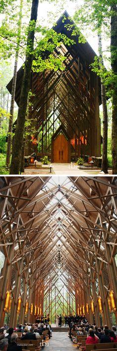 Amazing wedding chapel in the woods / Garvan Woodland Gardens near Hot Springs, Arkansas.