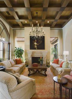 Classic living room with a BEAUTIFUL wood paneled ceiling