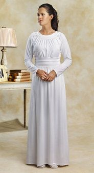 White, knit temple dress with rouching at waist - White Elegance - Makers of LDS Temple Clothes, Temple Dresses, Pioneer Costumes and more
