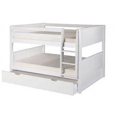 Camaflexi Full over Full Low Bunk Bed with Twin Trundle - Panel Headboard - Natural Finish - C2221_TR