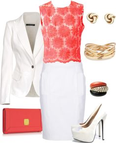 """White & coral"" by mtoomey on Polyvore"