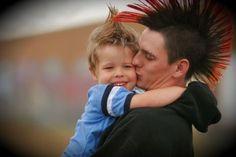 Cute. Punk parents/punk dad, mohawk