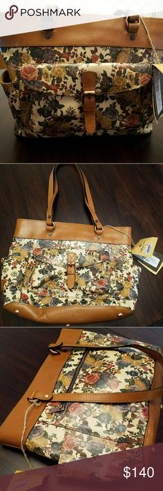 Patricia Nash leather floral purse Absolutely beautiful Patricia Nash leather purse Denim Fields collection Super high quality Brand new! With tags! Stunning purse with lots of pockets inside and out for storage  Perfect length straps for hand carrying or throwing over your shoulder Patricia Nash Bags Shoulder Bags