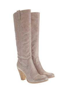 taupe leather long boots