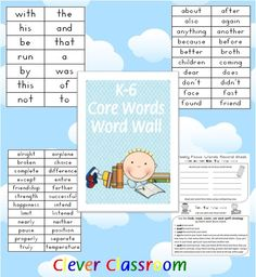 K-6 Core Words Word Wall - PDF file  That's Over 700 Words!  57 page, printable file.  Core words include sight words and high frequency words, making up one set of core words for each grade K through 6.  Includes a record worksheet for weekly focus words (see image).   Poster cover pages are also included for each grade.   There are 2 columns to a page and the older the grade, the smaller the words become, this is because words should be modeled in the size that you want/expect chi