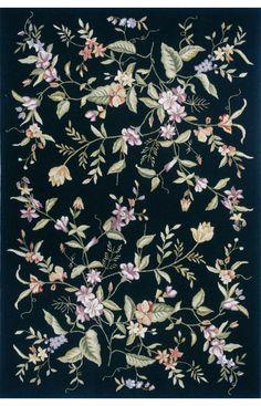 Momeni Spencer Spencer 18 Black Rug. 100% Wool. Hand Made. Black. Floral. Flower. Summer.