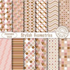 Stylish Geometrics patterns digital papers  door PrintableTales