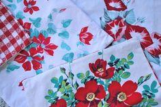 aqua and red linens