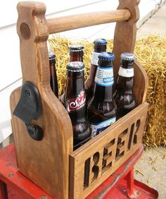 Beer Tote Beer Caddy 6 Pack Carrier Unique by DimeStoreVintage Router Projects, Wood Projects, Woodworking Plans, Woodworking Projects, Woodworking Shop, Wood Crafts, Diy And Crafts, Beer Caddy, Into The Woods