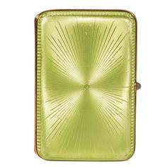 Fabergé Imperial Russian Apple Green Guilloché Enamel Case by Perchin 1