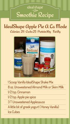 This is a very delicious recipe to help change up your meal replacement shakes.  #idealshape
