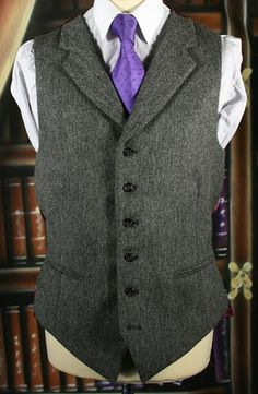 Purple tie with grey vest, almost Victorian and such a great look