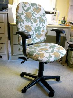 How to recover an Office Chair...I may have to try this! - Wink Chic