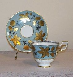 Tuscan Gold Leaf and Floral Bone China Tea Cup and Saucer