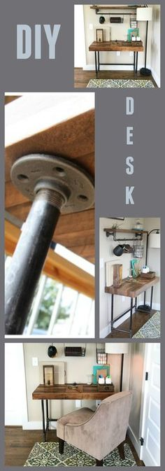 Check out this awesome DIY tutorial. Takes minimal tools, basic lumber and pipe. How to make an industrial desk from pipe! http://craftthyme.com
