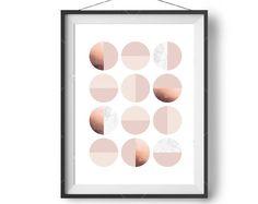Geometric Art, Blush Copper Marble Print, Circles Art, Minimalist, Digital Poster, Abstract Art, Scandinavian Design, Home Decor, Retro Art