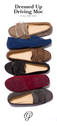 Six rich fall shades all in lush suede. These driving moccasins with their mixed-media kiltie (a traditional, menswear-inspired fringe) and patent leather bow have become our new fall uniform with jeans and a cashmere sweater. Shop the Strato.