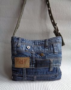 Denim purse handbag shoulder cross body bag recycled distressed grunge rock by BukiBuki on Etsy https://www.etsy.com/listing/213973326/denim-purse-handbag-shoulder-cross-body