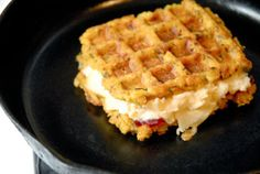 stuffing waffle grilled cheese with cranberry jelly, mashed potatoes, and muenster