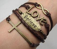 Infinity, cross, Love  & Believe Bracelet-Antique Bronze Bracelet- Believe forever love, God bless you-- valentines Gift-M033 on Etsy, $9.99